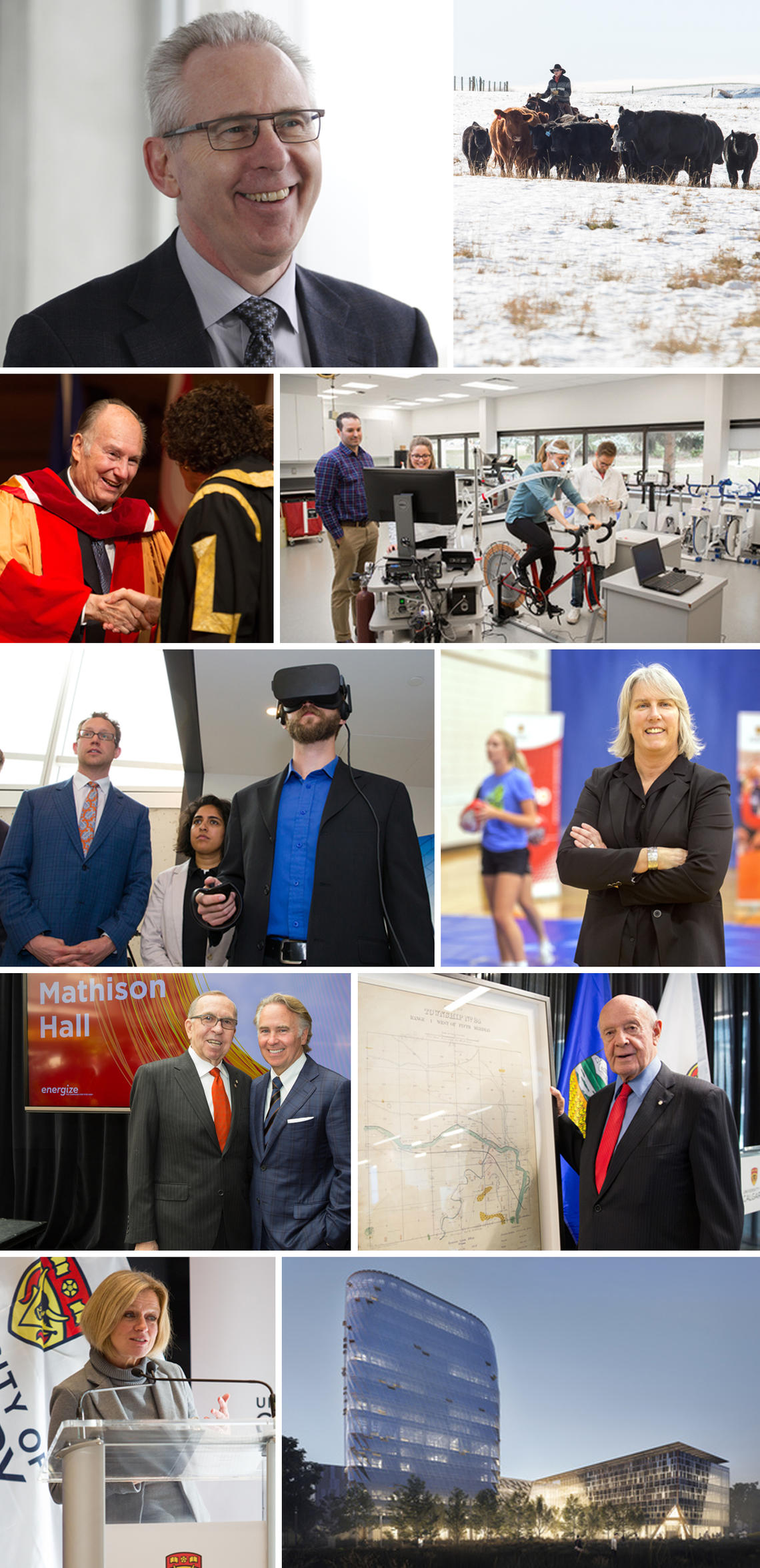 Clockwise from top left: Ed McCauley, ninth president of the University of Calgary; Anderson-Chisholm family gifts a working ranch to the Faculty of Veterinary Medicine; Faculty of Kinesiology ranks No. 1 among North American sport science schools; Carolyn Emery will lead a concussion research program at Canadian high schools; donation from Bill Siebens and family supports the historic relocation of the Glenbow Library and Archives to the university; construction begins on the MacKimmie redevelopment; Premi