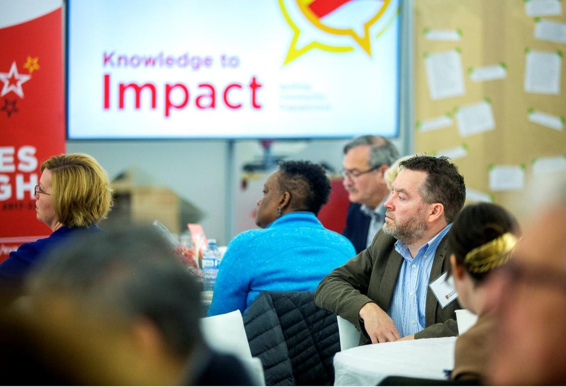 UCalgary and community members gathered to discuss the future of community engagement and partnership at Knowledge to Impact: Igniting Community Engagement in the City Building Design Lab on April 29.