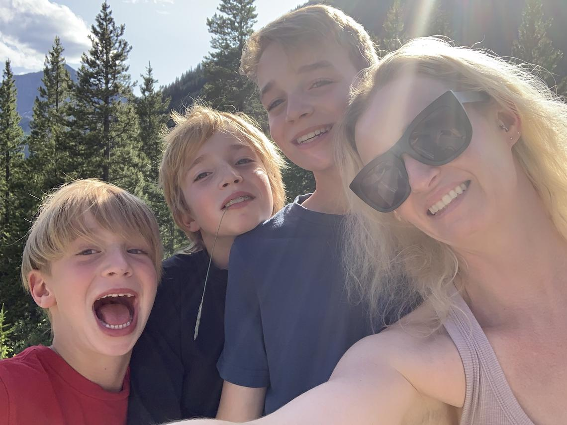 Kathryn Kurylo with her three boys, from left, Micah, Jasper and Jonah.