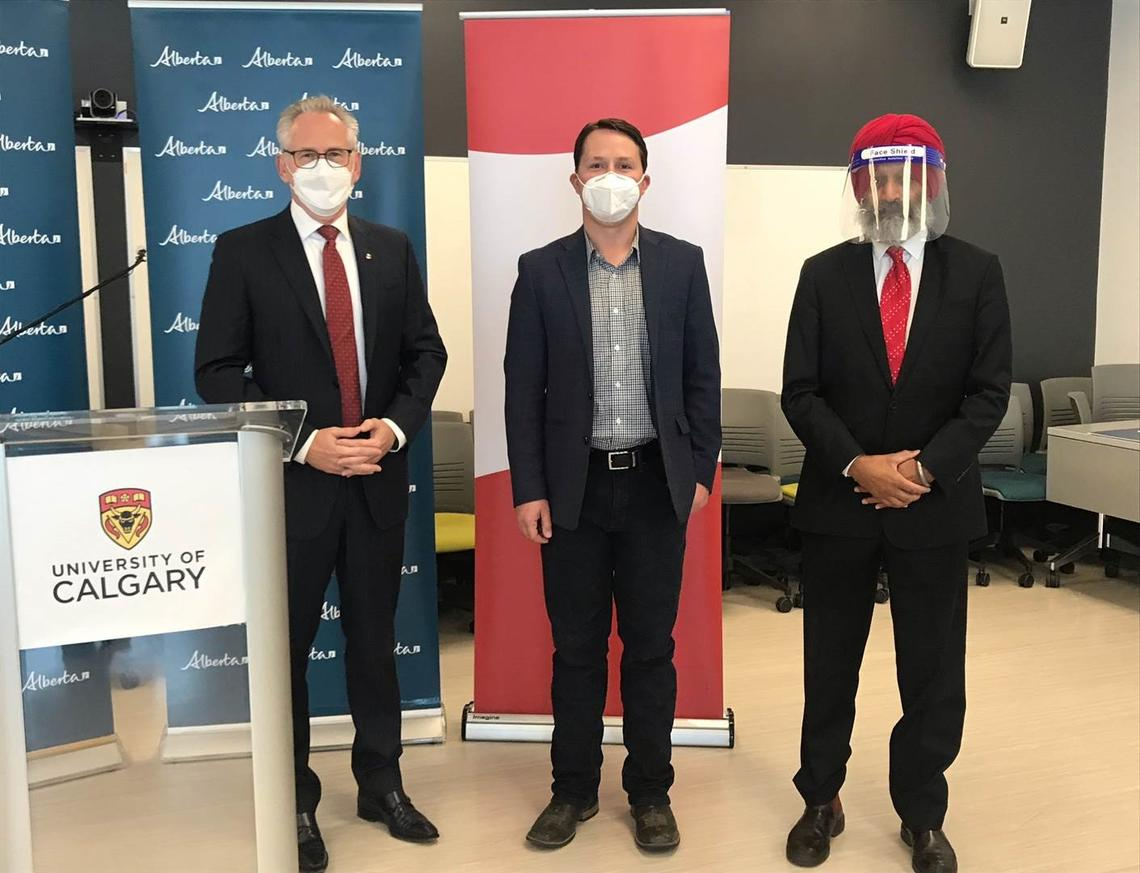 From left: Ed McCauley, Devin Dreeshen and Baljit Singh announce the finalization of two grant agreements, worth $3.44 million.
