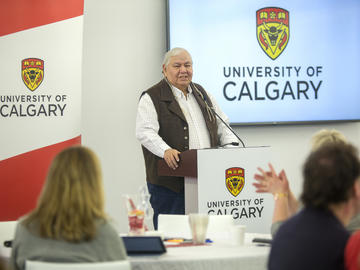 Dr. Reg Crowshoe, Piikani Elder and Traditional Knowledge Keeper in Residence at the University of Calgary, provides a blessing at Knowledge to Impact: Igniting Community Engagement in the City Building Design Lab on Monday, April 29, 2019.