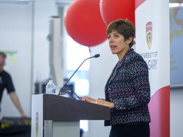 Chancellor Deborah Yedlin moderates the morning panel on UCalgary's role as an anchor institution in city building at Knowledge to Impact: Igniting Community Engagement in the City Building Design Lab on Monday, April 29, 2019.