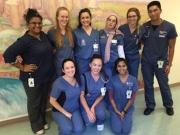 Polan with her Term 5 clinical group at RGH Unit 84 gynecology and plastics surgery and Unit 48 geriatric in-patient psychiatry.