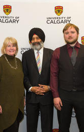 With University of Calgary President Elizabeth Cannon, left, at the W.A. Ranches donation announcement on Friday were, from left: Wynne Chisholm, Faculty of Veterinary Medicine Dean Baljit Singh, Jamie Chisholm, and Bob Chisholm. Photos by Riley Brandt, University of Calgary