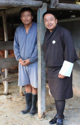 Dr. Jamyang Namgyal with a farmer in Eastern Bhutan