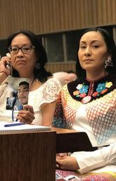 Debbie Baptiste and Jade Brown-Tootoosis at the United Nations in New York City